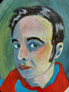 Arpino's self-portrait, oil paint and mixed media, courtesy of the Moth Flock on Facebook.