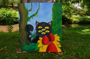 """""""Hexacat Stumbles Upon a Burmburry Patch,"""" Oil on recycled wood panels. Approx. 26 x 22 inches."""