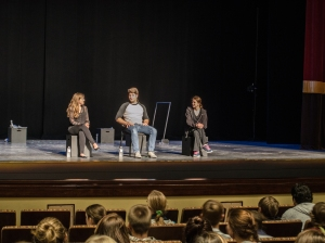 "(left to right) Haley Sullivan, Cameron Hite, and Sarah Bond answer questions from their student audience after Thursday's production of ""Impulse"" at the Clayton Center for the Arts in Maryville. Photo by Alex Cawthorn."