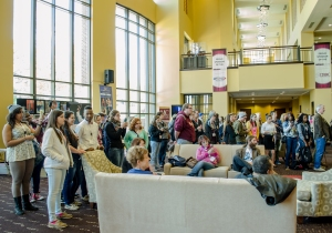 "Students congregated in the Clayton Center Grand Foyer as they watched Maryville College's ""Off Kilter"" perform songs and prepared for Friday's scheduled activities. Photo by Alex Cawthorn."