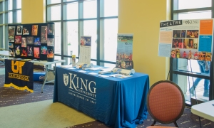 Colleges such as King College and East Tennessee State University (ETSU) provided information booths for prospective students looking to pursue theatre educations. Photo by Alex Cawthorn.