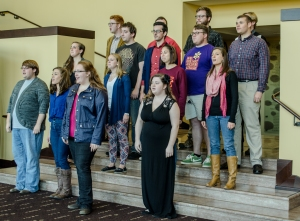 "Maryville College's small choir ensemble ""Off Kilter"" performed several songs in between activities on Fri. Oct. 24, including Lorde's ""Royals,"" and Delta Rae's ""Bottom of the River."" Photo by Alex Cawthorn."